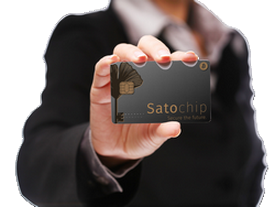 A woman handling a Satochip Bitcoin hardware wallet